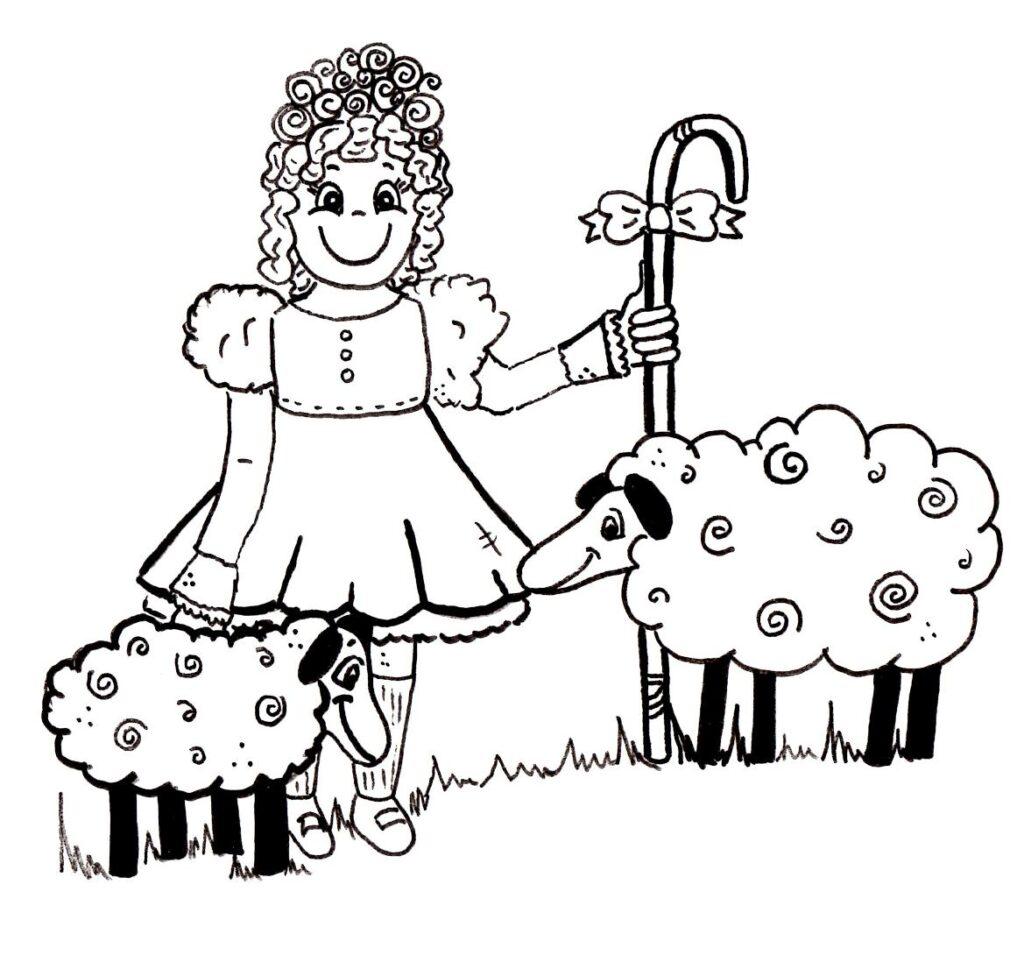 Cartoon Little Bo Peep Coloring Page