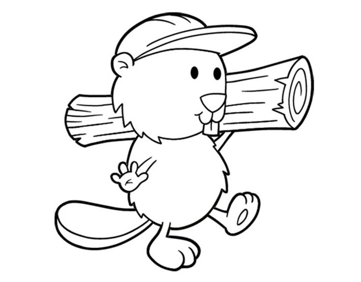 Cute Busy Beaver Coloring Page