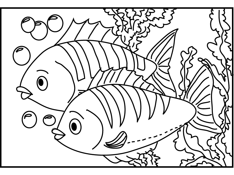 Fish And Coral Coloring Pages