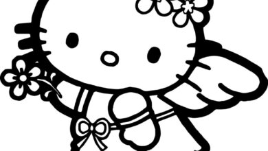 Hello Kitty Halloween Angel Costume Coloring Pages