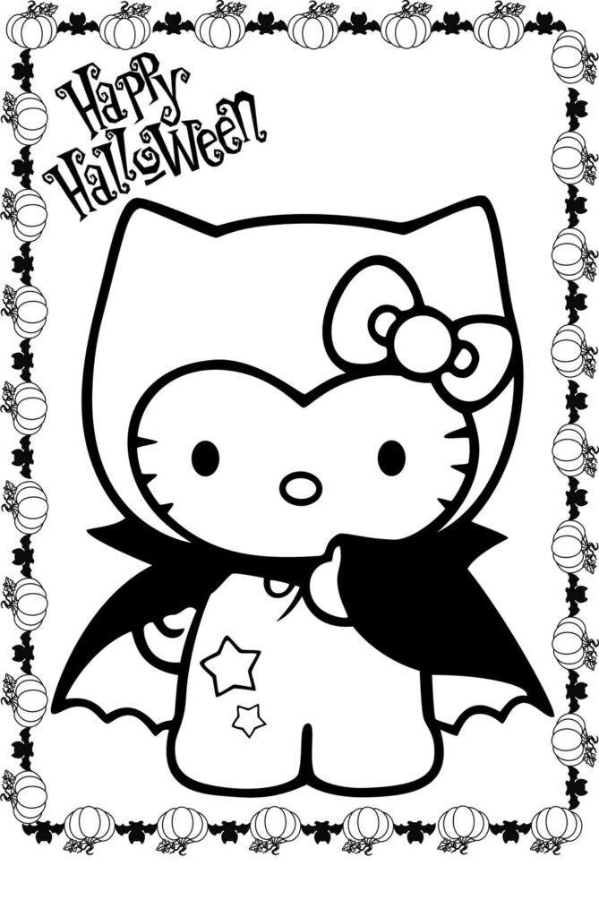 Hello Kitty Halloween Vampire Coloring Page